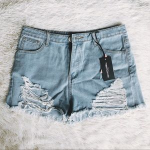 PrettyLittleThing Extreme Rip Jean Shorts
